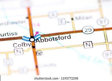 Abbotsford. Wisconsin. USA on a map