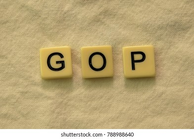 The abbreviation 'GOP' spelled out in letter tiles on a textured background