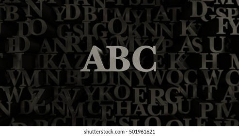 ABC - 3D rendered metallic typeset headline illustration.  Can be used for an online banner ad or a print postcard.