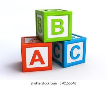 abc alphabet cubes (3d rendering)