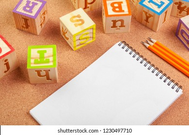 abc alphabet with paper note book