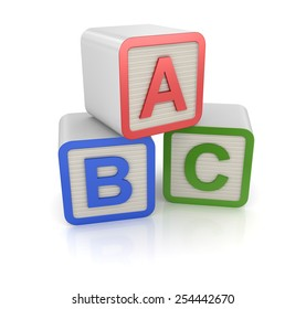 Abc Block , computer generated image. 3d rendered image.