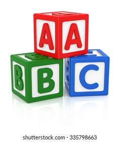 ABC letters made from baby toys, Color blocks with alphabet letters.