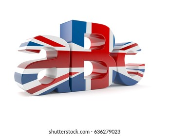 ABC letters in UK flag isolated on white background. 3d illustration