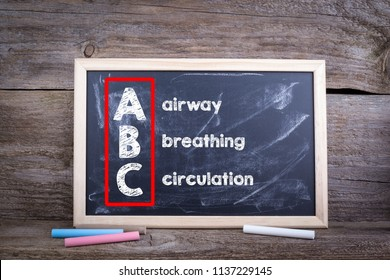 ABC (medicine). Airway, Breathing and Circulation. Chalk board Background
