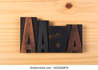 ABC Vintage word print letters on wood