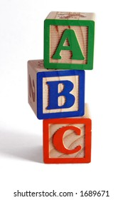ABC wooden blocks stacked vertically.