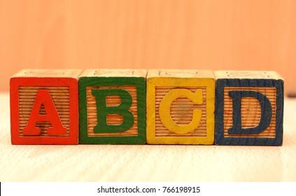 ABCD Alphabits word wooden blocks - School Concept