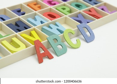 ABCD colourfull  word on white background