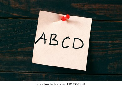 ABCD word on the sticker