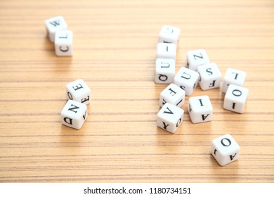 ABCD word on white cubes ABCD children education concept wooden background