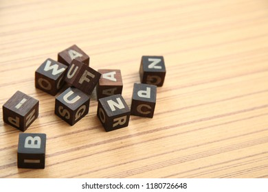 ABCD word on wooden cubes ABCD children education concept