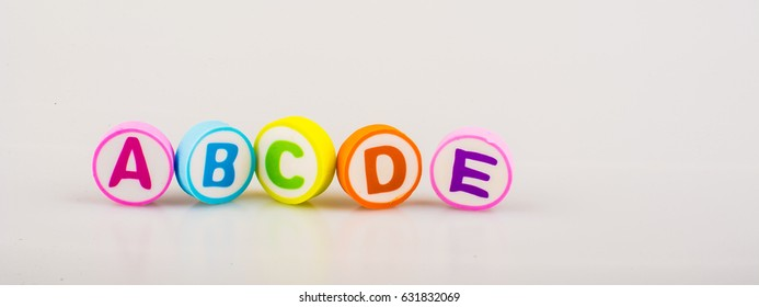 ABCDE alphabet printed on the round shape eraser for learning purposes
