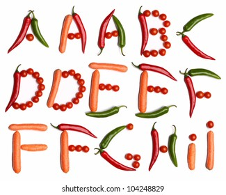 A-B-C-D-E-F-G-H-I alphabet letters made with fresh vegetables on the white background (isolated on white).  Make your own words in vegetables (tomato, pepper, carrot). Every letter X large size