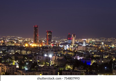 Abdali area towers and hotels at night - Amman city skyline at night
