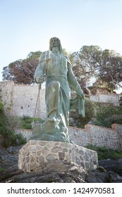 Abderrahman, statue in the town of Almunecar in Granada Spain celebrates the landing from North Africa in 755 AD of Omeya Abderraman (also know as Abd ar-Rahman) from Damascus.