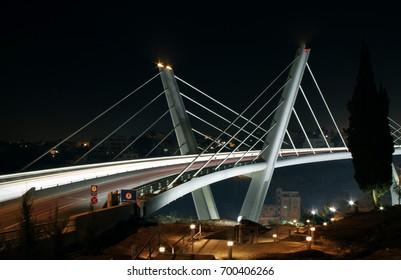 Abdoun Bridge at night in Amman, Jordan