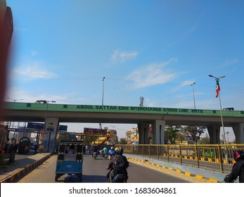 The Abdul sattar edhi bridge in north Nazimabad Karachi Pakistan - Mar 2020