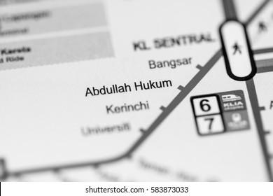Abdullah Hukum Station. Kuala Lumpur Metro map.