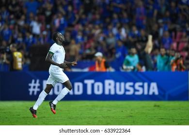 Abdulmalek Al-Khaibri of Saudi Arabia in action during 2018 FIFA World Cup Qualifier between Thailand and Saudi Arabia at the Rajamangala Stadium on March 23, 2017 in Bangkok,Thailand,
