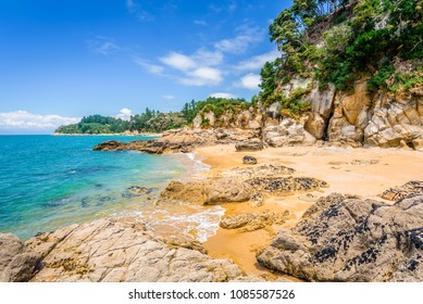 Abel Tasman National Park, New Zealand: Magical sandy beach with turquoise blue water on beautiful sunny summer day, enjoy breathtaking landscape by exploring the Splitt Apple Rock sea coast by kayak