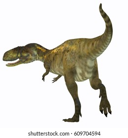 Abelisaurus Dinosaur Tail 3d illustration - Abelisaurus was a carnivorous theropod dinosaur that lived in Argentina in the Cretaceous Period.