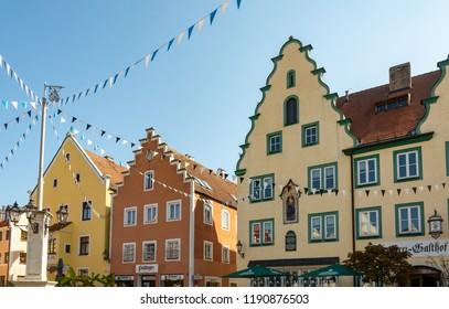 ABENSBERG, GERMANY - SEPTEMBER 20: The historic old town around the market place of Abensberg, Germany on September 20, 2108. Foto taken from Stadtplatz.