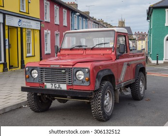 ABERAERON, WALES - 5 OCT. 2013: A Landrover parked in a street in a Welsh town. Landrover jeeps are very popular in rural Wales since the brand was developed here in 1948