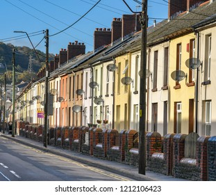 ABERAMAN, NEAR ABERDARE, WALES - OCTOBER 2018: Row of terraced houses in Aberaman in the Cynon valley.