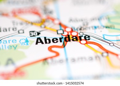 Aberdare. United Kingdom on a geography map