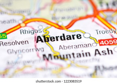 Aberdare. United Kingdom on a map
