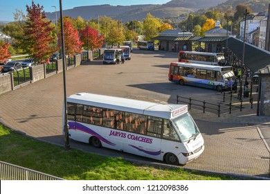 ABERDARE, WALES - OCTOBER 2018: Aerial view of the bus station in Aberdare town centre.
