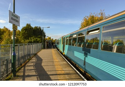ABERDARE, WALES - OCTOBER 2018: Commuter train arriving on the single platform at the railway station in Aberdare.
