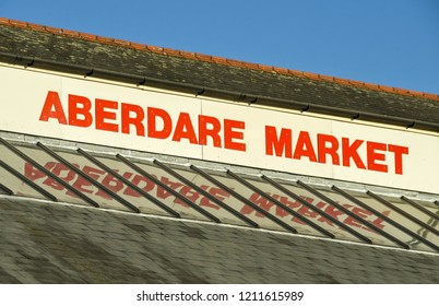 ABERDARE, WALES - OCTOBER 2018: Large sign on the roof of the traditional indoor market in Aberdare town centre.