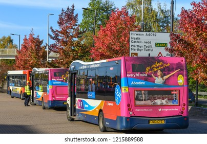 ABERDARE, WALES - OCTOBER 2018: Public service buses operated by Stagecoach Group plc parked in the bus station in Aberdare town centre.