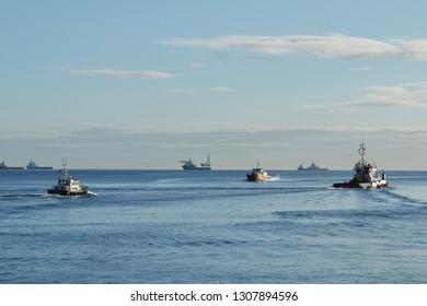 Aberdeen, Aberdeenshire, Scotland. Circa 2018. Aberdeen Bay, close to the harbour.
