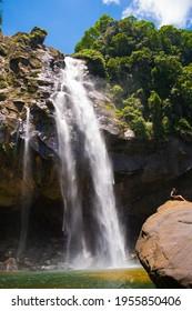 Aberdeen Falls is a 98 m high waterfall on the Kehelgamu Oya near Ginigathena, in the Nuwara Eliya District of Sri Lanka.