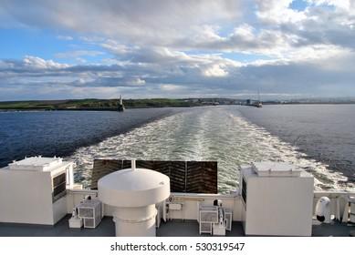 Aberdeen from ferry to Shetland Islands, Scotland, UK