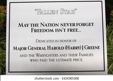Aberdeen, Maryland, United States - June 14, 2019: Close up of the dedication placard to the 'Fallen Star' Memorial