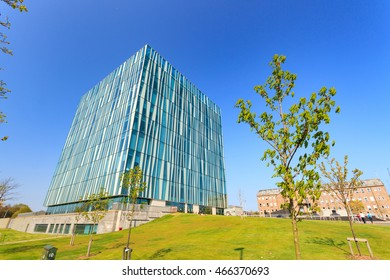 ABERDEEN SCOTLAND - 11 MAY 2016 : The Sir Duncan Rice Library of University of Aberdeen. This was designed by Danish architects schmidt/hammer/lassen, and it was opened in 2012.