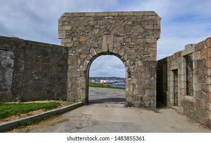 Aberdeen, Scotland - 12th May 2015: Looking through the entrance Archway of the Torry Battery, towards Aberdeen Harbour and City, in Scotland.