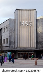 ABERDEEN, SCOTLAND - 19 FEBRUARY 2019: St Nicholas was Marks and Spencer's northernmost store when opened in 1944.  This block dates from 1966 and was incorporated into the St Nicholas Centre in 1985