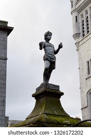 ABERDEEN, SCOTLAND - 19 FEBRUARY 2019: Only lead sculpture in the city,  created ca 1710 by William Lindsey to mark first piped water in the Castlegate.  Moved several times, now back in  Castlegate.