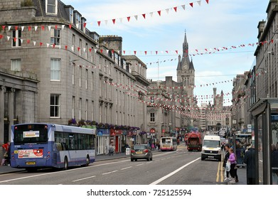 ABERDEEN, SCOTLAND - 22 SEPTEMBER 2017: Union Street, the city of Aberdeen's main thoroughfare, looking towards the Salvation Army citadel in Castlegate and the tower and spire of Aberdeen Townhouse.