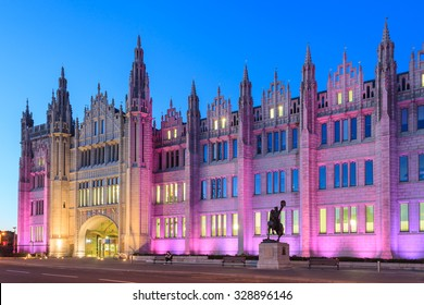ABERDEEN SCOTLAND - 25 SEPTEMBER 2015 Marischal College view in the evening on September 25, 2015. Marischal college became Aberdeen City Council headquarters in 2011.