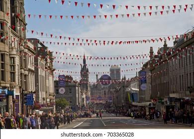 ABERDEEN, SCOTLAND - 26 AUGUST 2017: Union Street, Aberdeen city center on the day of Celebrate Aberdeen event