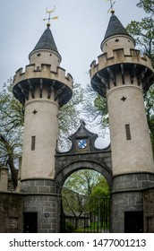 Aberdeen, Scotland, 27/04/2019. A Pair of Towers forming a gate found in Old Aberdeen
