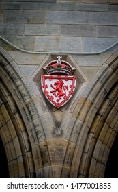 Aberdeen, Scotland, 27/04/2019. A red icon found on the wall of King's college chapel in Old Aberdeen