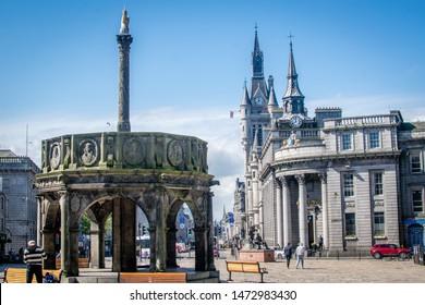 Aberdeen, Scotland- 28/04/2019 Castlegate square and Aberdeen's Mercat Cross in Aberdeen.