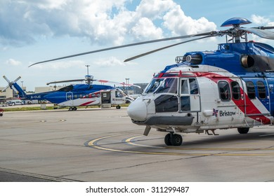 ABERDEEN, SCOTLAND - AUGUST 30 2015: Heicopter parking at the Bristow Heliport